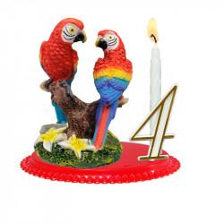 "Porte-bougies ""ANIMAUX"" : Couple Perroquets"