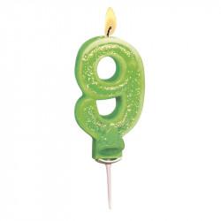 Bougies Chiffre vert à paillettes N°9