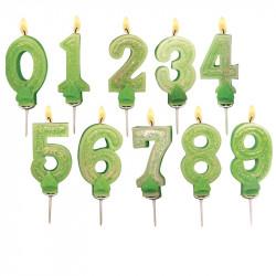 Bougies Chiffre vert à paillettes N°8