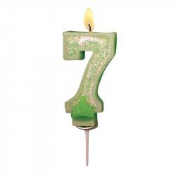 Bougies Chiffre vert à paillettes N°7