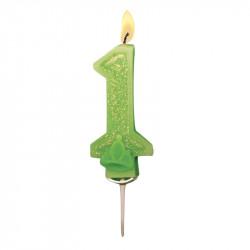 Bougies Chiffre vert à paillettes N°1