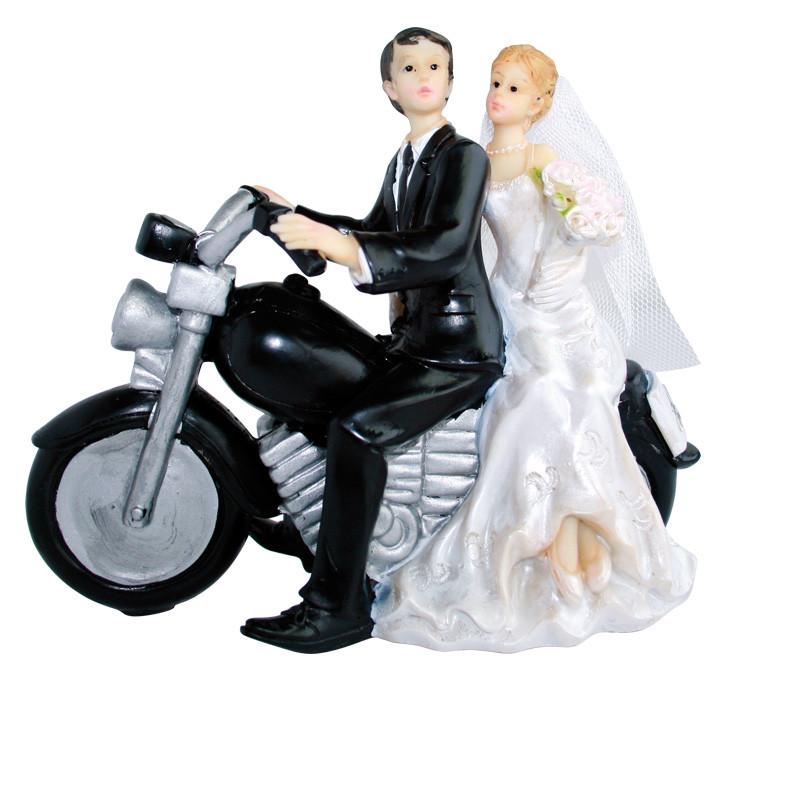 "Porte-bougies ""Mariage"" : Mariés en moto"
