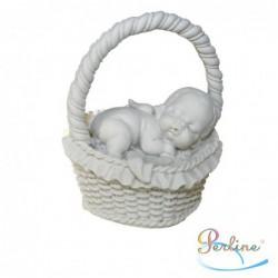 """Porte-bougies """"Baptême"""" : Bébé ange dans panier"""