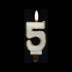Bougie chiffre n°5 avec liseré or