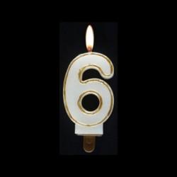 Bougie chiffre n°6 avec liseré or