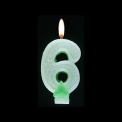 Bougie chiffre vert n°6 pailleté avec support, sous blister