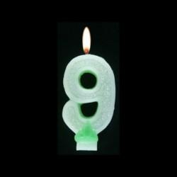 Bougie chiffre vert n°9 pailleté avec support, sous blister