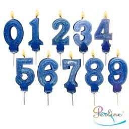 Bougies Chiffre Bleu à paillettes